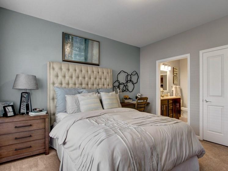 Master bedroom and bath at York Woods at Lake Murray Apartment Homes, Columbia, 29212