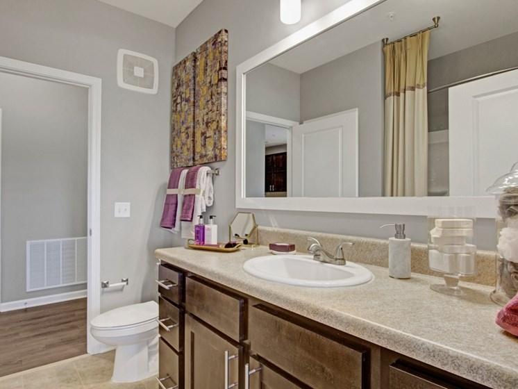 Model main bathroom at York Woods at Lake Murray Apartment Homes, Columbia, SC, 29212