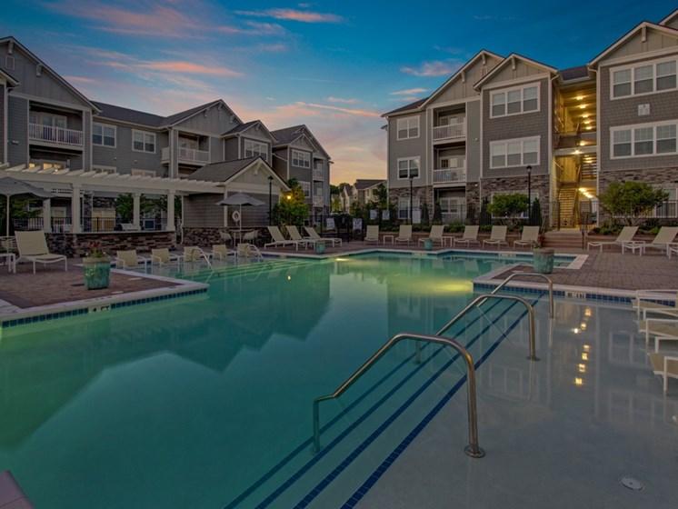 Night time swimming pool at York Woods at Lake Murray Apartment Homes, South Carolina