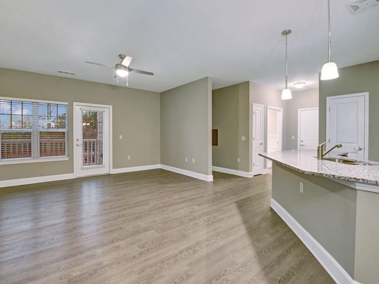 Spacious living room and kitchen. at York Woods at Lake Murray Apartment Homes, South Carolina