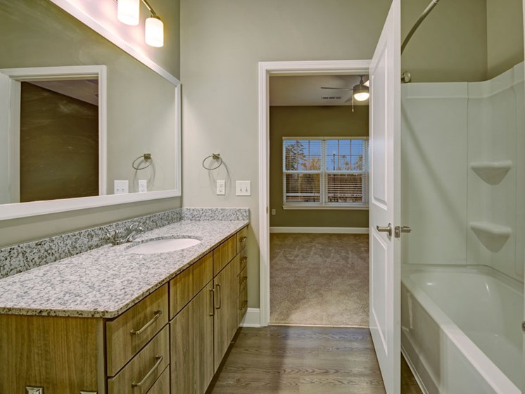 Bathroom with tub, sink, and toilet at York Woods at Lake Murray Apartment Homes, Columbia, SC, 29212