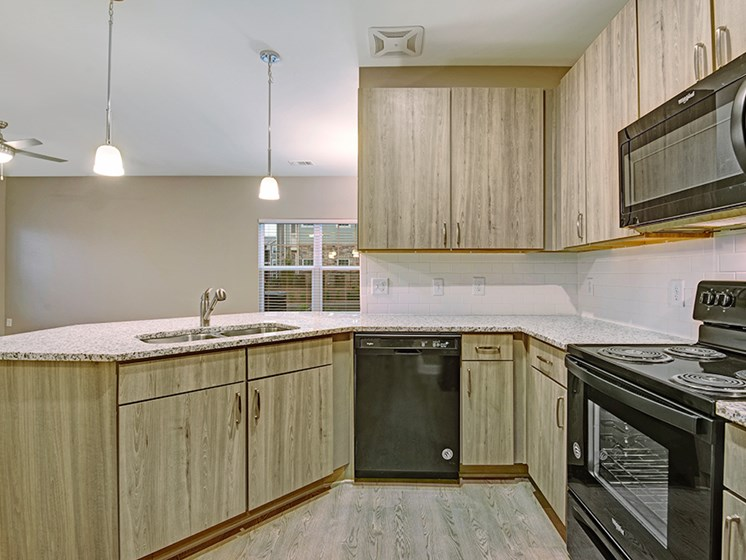 brand new interiors with black appliances and vinyl plank flooring, light wood cabinets and granite countertops at York Woods at Lake Murray Apartment Homes, Columbia