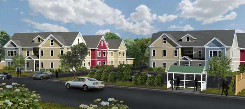 Colorful buildings and professional landscaping
