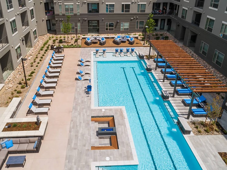 Soak up the sun from every corner of the resort style pool at Encore Boulevard One Apartments, 7108 E Lowry Boulevard, CO