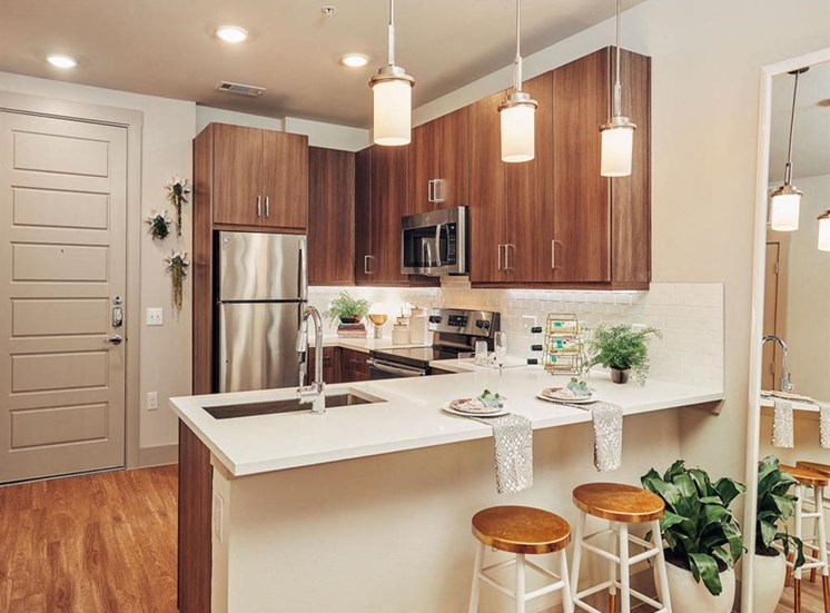Fully Equipped Kitchen With Modern Appliances at Domain at The Gate, Frisco, Texas