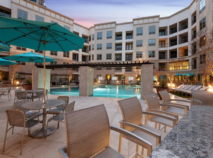 Poolside Dining Tables at Domain at The Gate, Texas