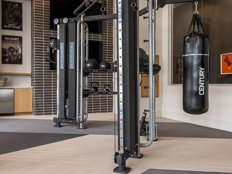 State of the art fitness equipment for your everyday workout routine at Encore Boulevard One Apartments, 7108 E Lowry Boulevard, CO