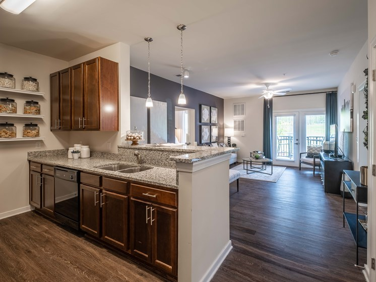 Living Room Come Kitchen View at Abberly CenterPointe Apartment Homes by HHHunt, Midlothian