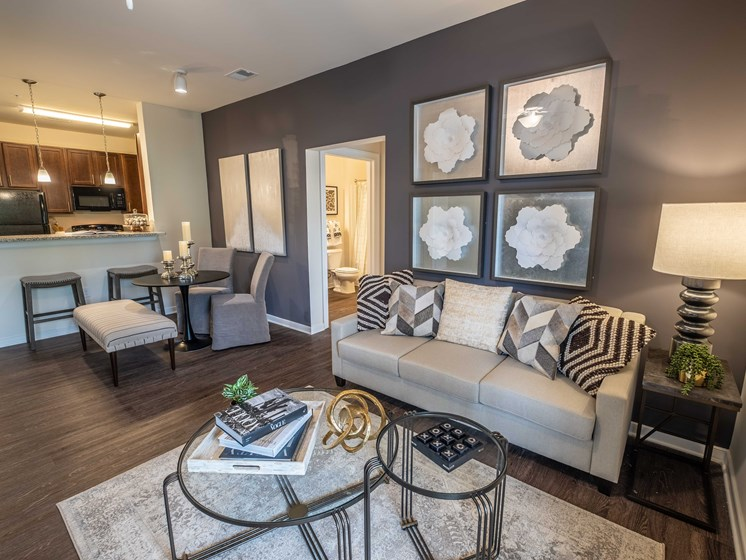 Living Room Come Dining Area View at Abberly CenterPointe Apartment Homes by HHHunt, Virginia, 23114