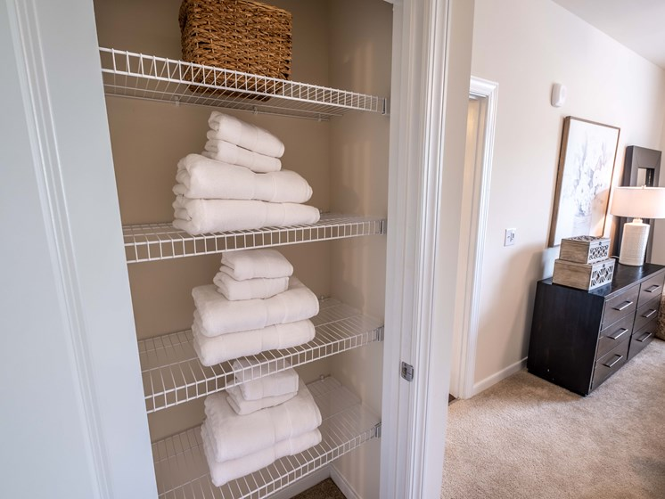 Built-In Shelving In Closet at Abberly CenterPointe Apartment Homes by HHHunt, Midlothian, VA, 23114