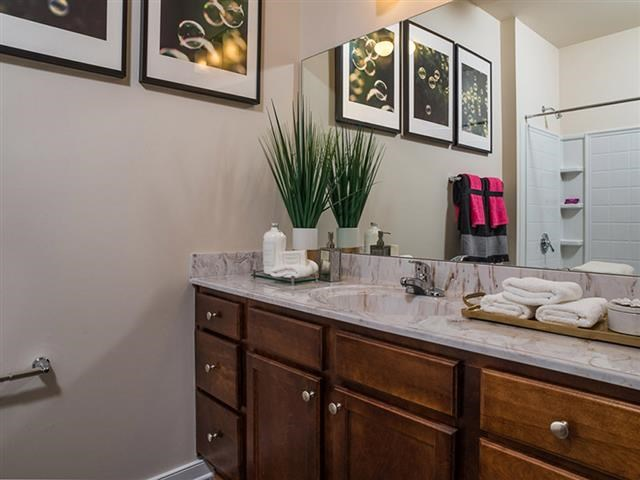 Renovated Bathrooms With Quartz Counters at Abberly Square Apartment Homes, Waldorf, Maryland
