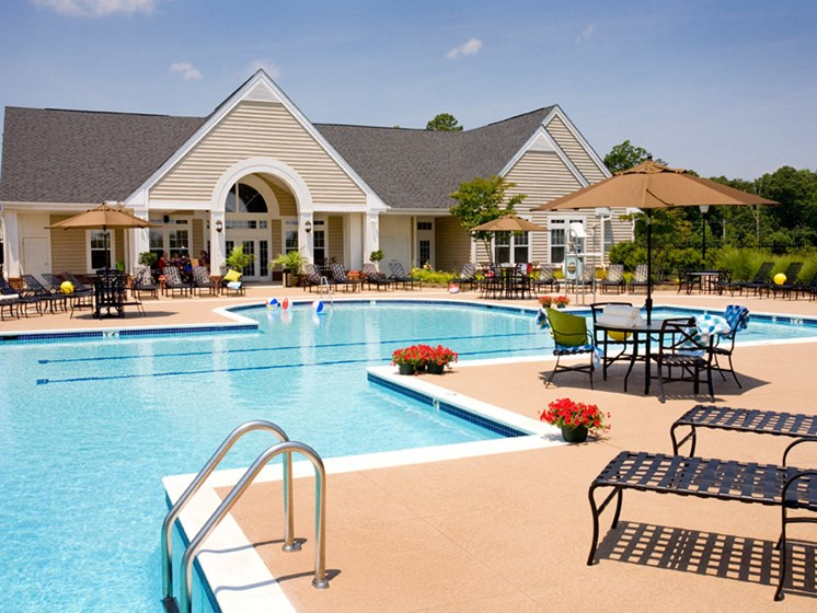 pool seating at Abberly Crest Apartment Homes by HHHunt, Maryland, 20653