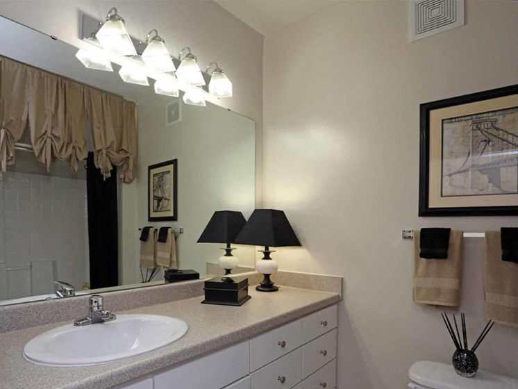 Bathroom Mirror at Abberly Crest Apartment Homes by HHHunt, Lexington Park, MD