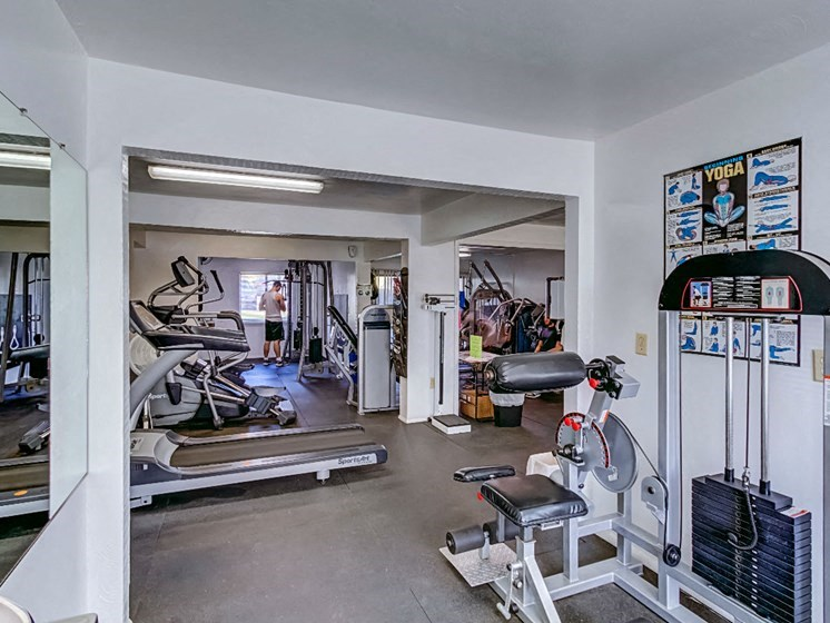 Fully Equipped Fitness Center at Hethwood Apartment Homes by HHHunt, Blacksburg, Virginia