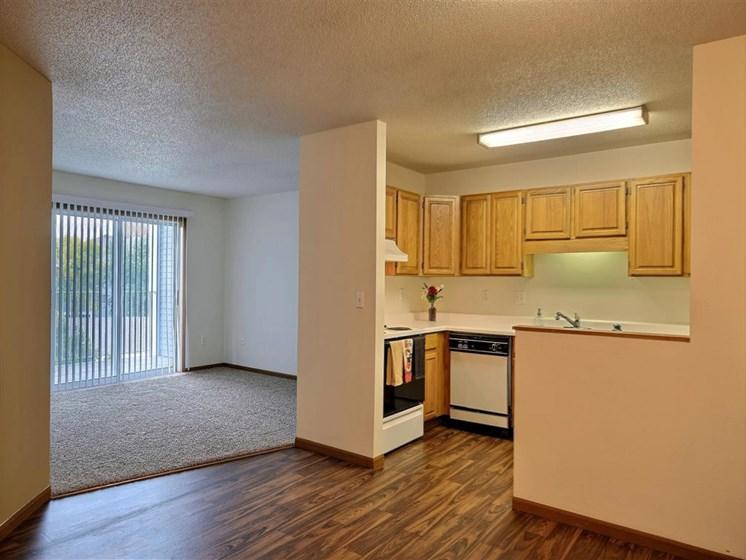 Flagstone Apartments | 2 Bedroom 2 bath | Kitchen | Living Room