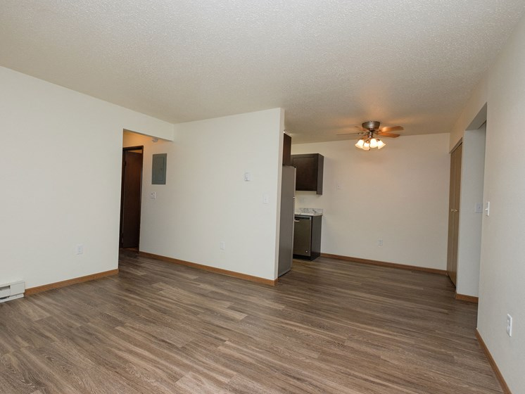 Prairie One Apartments   Two Bedroom   Living and Dining Area