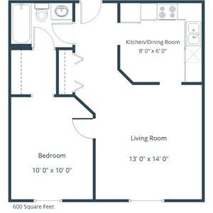 Carlton Place Apartment | 1 Bedroom Floor Plan 11C