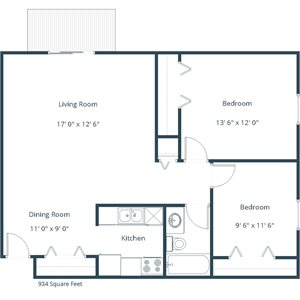 Carlton Place Apartment | 2 Bedroom Floor Plan 21A