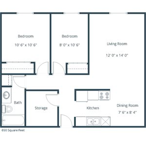 Carlton Place Apartment | 2 Bedroom Floor Plan 21D