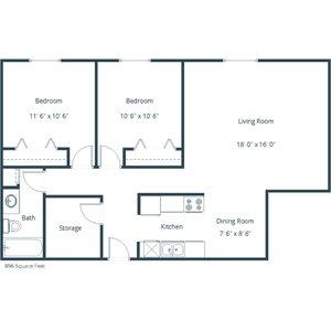 Carlton Place Apartment | 2 Bedroom Floor Plan 21E