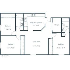 Carlton Place Apartment | 3 Bedroom Floor Plan 32A
