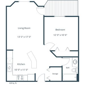 Somerset Apartment | 1 Bedroom Floor Plan 11A