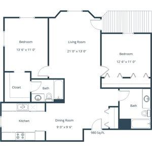 Somerset Apartment | 2 Bedroom Floor Plan 22A