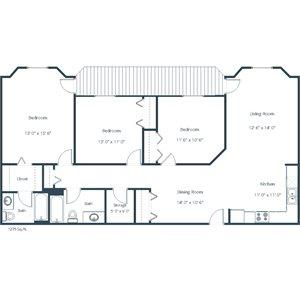 Somerset Apartment | 3 Bedroom Floor Plan 32A