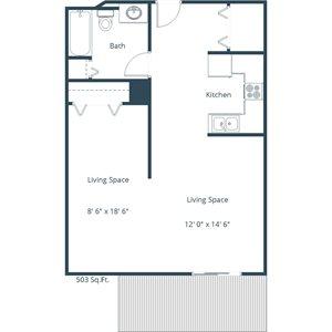 Willow Park Apartment | Efficiency Floor Plan 01A