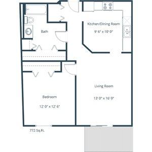 Willow Park Apartment | 1 Bedroom Floor Plan 11B