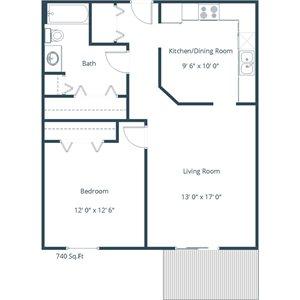 Willow Park Apartment | 1 Bedroom Floor Plan 11C