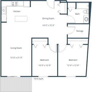 Willow Park Apartment | 2 Bedroom Floor Plan 21A