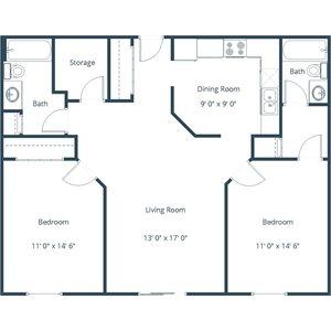 Willow Park Apartment | 2 Bedroom Floor Plan 22A