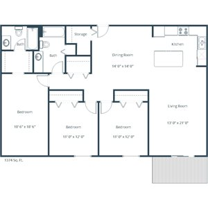 Willow Park Apartment | 3 Bedroom Floor Plan 32A