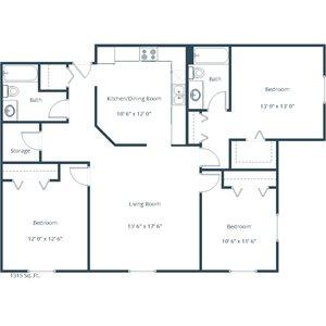Willow Park Apartment | 3 Bedroom Floor Plan 32B