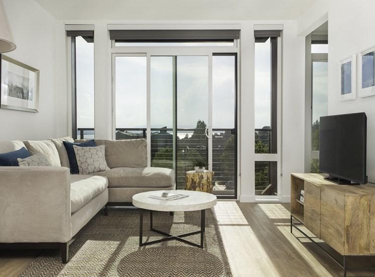4730 California Apartments Model Living Room Floor-to-Ceiling Windows