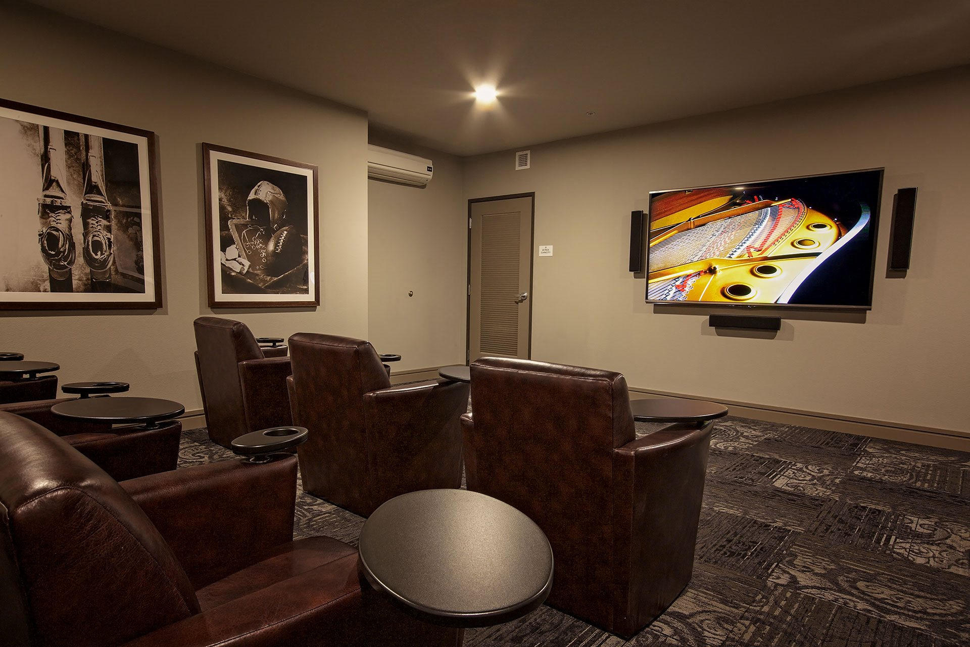 Portera at the Grove_Wilsonville  Theater room with surround sound