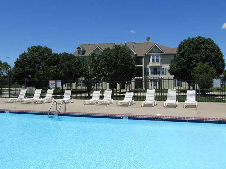 Pool view at Saddlewood Apartments in Olathe, KS near Garmin