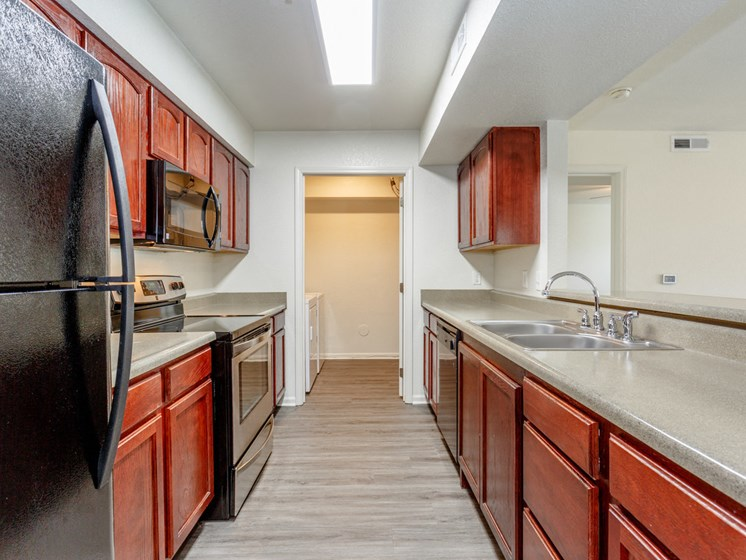 Classic kitchen with cabinets and appliances