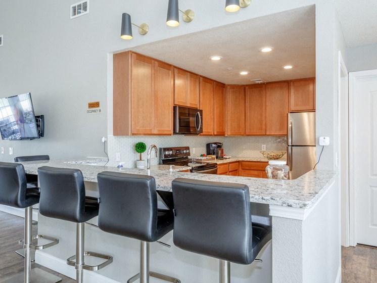 Kitchen in clubhouse at Saddlewood Apartments in Olathe, KS near Garmin