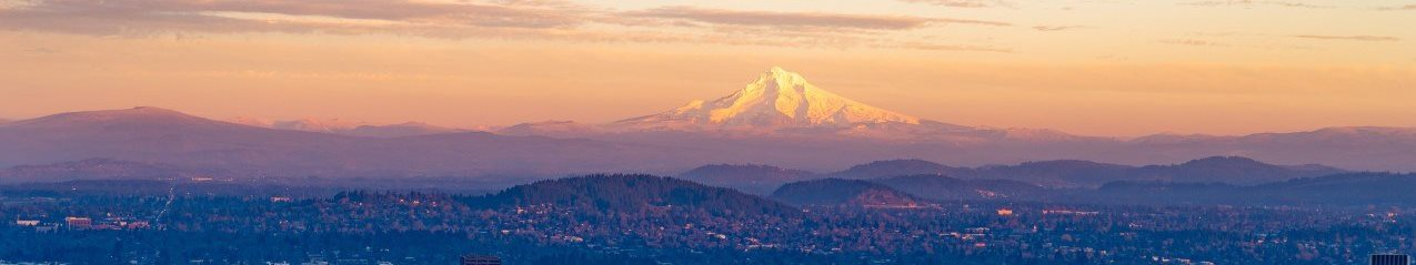 Skyline View of Gresham, Oregon with Mountains in Background