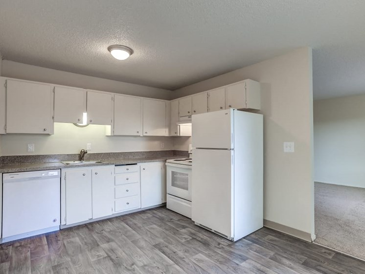 Kitchen with Vinyl Plank Flooring and White Cabinets at Center Plaza Apartments