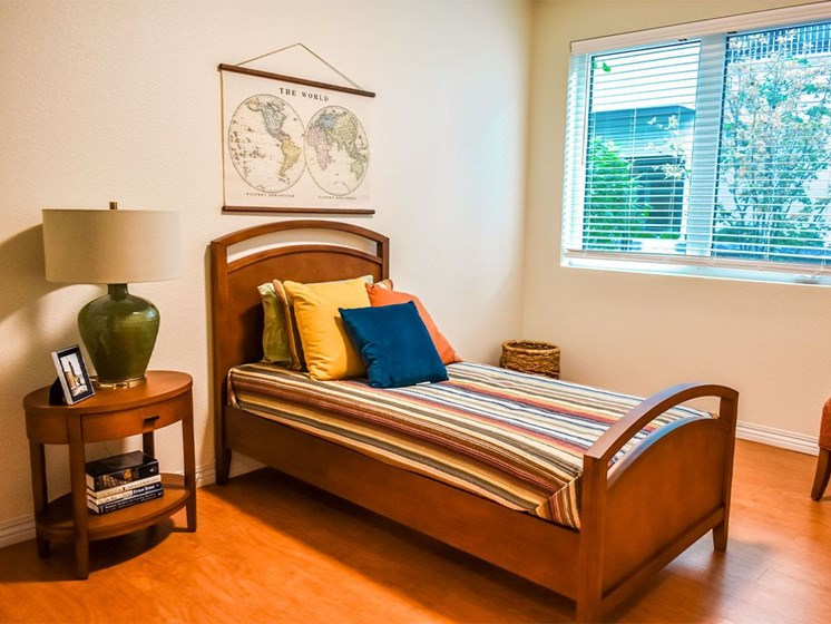 Bedroom with Carpeted Flooring at Westmont of Milpitas, Milpitas, CA, 95035