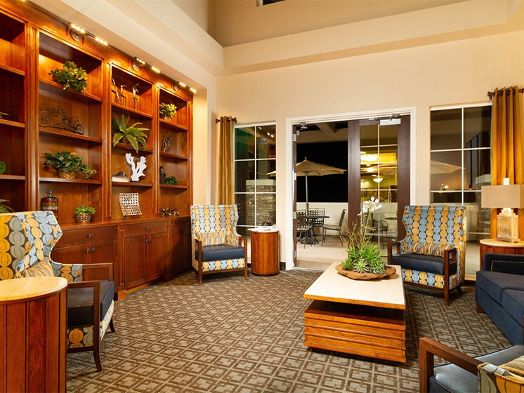 Living Room With Private Balcony at The Terraces, Chico, CA, 95928