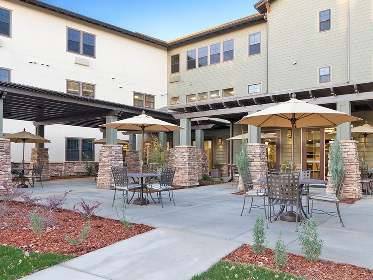 Courtyard Patio With Ample Sitting at The Terraces, Chico, CA