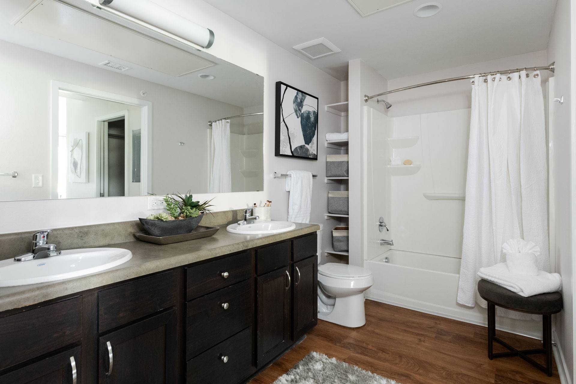 Bathroom with Large Mirror at Arbour Commons, Colorado
