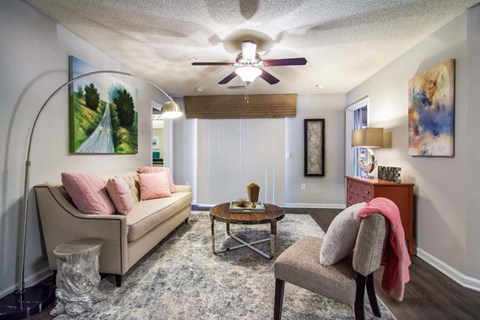 Ceiling Fan In Living Room at Haven at Patterson Place, Durham, 27707