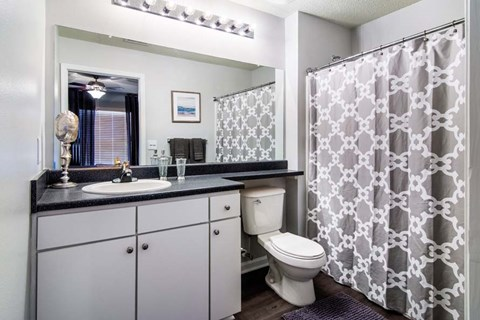 Designer Granite Countertops In All Bathrooms at Haven at Patterson Place, Durham, North Carolina