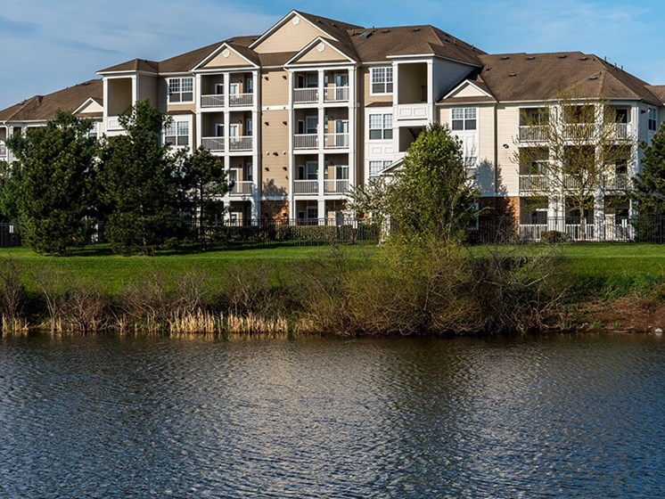 The Ashborough exterior pond view