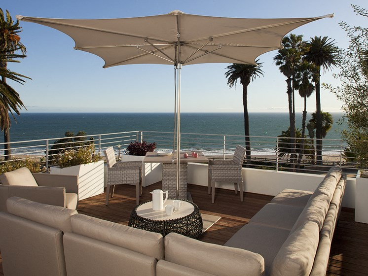 Terrace Lounging Area at 301 Ocean Ave, Santa Monica